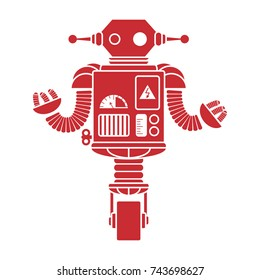 A simple red retro robot. Excellent illustration for printing on posters, clothing and other surfaces.