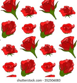Simple red roses pattern