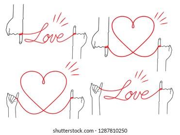 Simple red thread illustration set