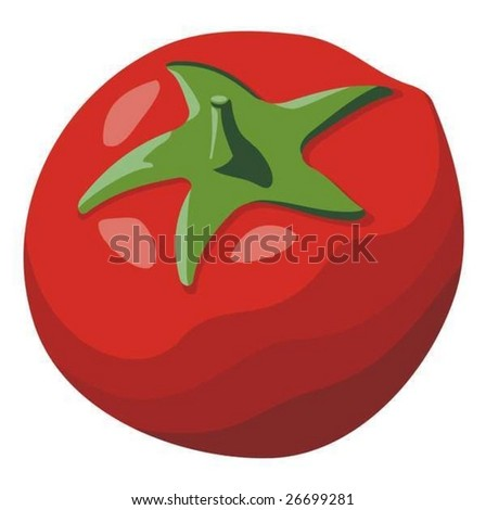 Simple red tomato illustration isolated on white background
