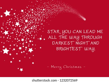 Simple Red Vector Christmas Greeting Card with Shooting Star and Poem (Rhyme). Star, You Can Lead Me All The Way Through Darkest Night and Brightest Way - Merry Christmas. Falling Star Silhouette!