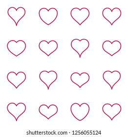 Simple red vector heart icons thin line collection