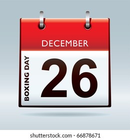 Simple red and white boxing day calendar icon