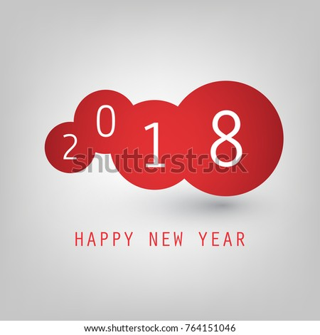simple red and white new year card cover or background design template 2018