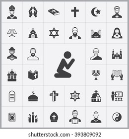 Simple religion icons set. Universal religion icon to use for web and mobile UI, set of basic religion elements
