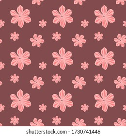 Simple repeat pattern with beautiful pink flowers. Vector illustration support CMYK.
