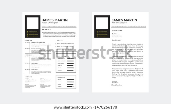 Simple Resume Cover Letter Stock Vector Royalty Free 1470266198