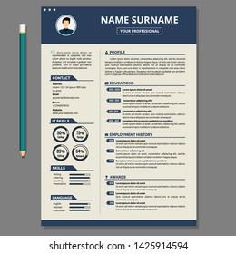 Simple Resume Template. CV Design Vector.