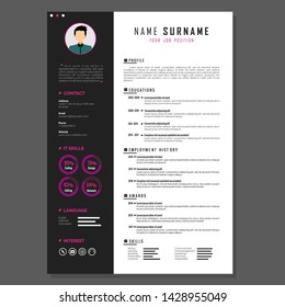 Simple Resume Template Design Vector