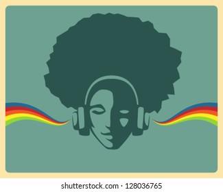 simple retro design - beautiful girl listening to music from headphones
