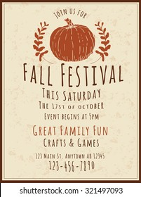 Simple and retro hand drawn Fall Festival Flyer