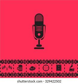 Simple retro microphone. Black flat vector icon and bonus symbol - Racing flag, Beer mug, Ufo fly, Sniper sight, Safe, Train on pink background