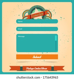Simple retro vintage contact us form templates. Vector template.