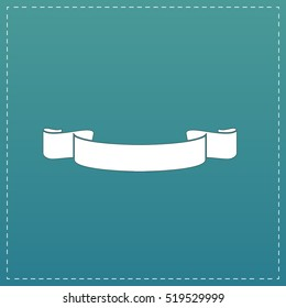 Simple ribbon. White flat icon with black stroke on blue background