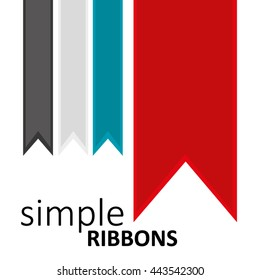 Simple Ribbons, Modern Colors, White Background