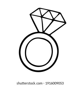 Simple ring with a diamond doodle icon. vector