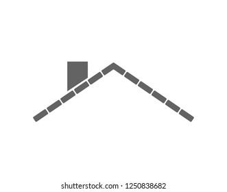 Simple roof icon. Brick roof vector.