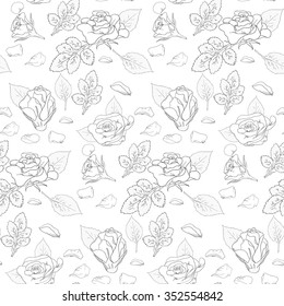 simple roses leaf ans petals pattern