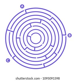 Simple round maze labyrinth game for kids