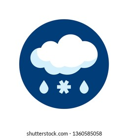 Simple round sleet icon in flat style. Vector meteo pictogram of raining and snowing weather.