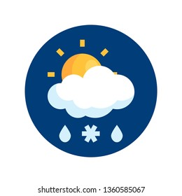 Simple round sleet icon in flat style. Vector meteo pictogram of sunny sleet weather.