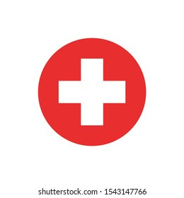 Simple rounded medical cross icon design vector