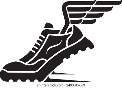simple running shoes with wings vector in black and white illustration