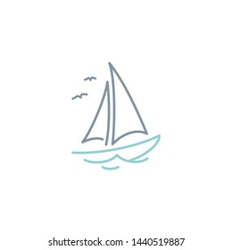 Simple Sailboat dhow ship line art logo design