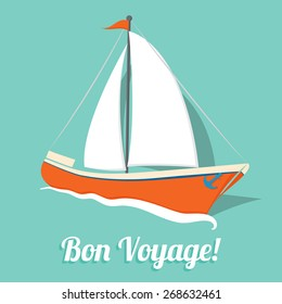 Simple sailboat summer card in flat style in vector
