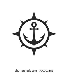 Simple Sailor Ship anchor in compass shape badge or insignia