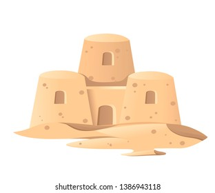 Simple sand castle icon. Summer games of sand. Cartoon design. Flat vector illustration isolated on white background.