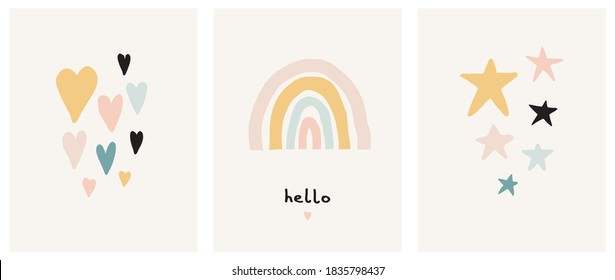 Simple Scandinavian Style Vector Illustration with Rainbow, Stars and Hearts. Lovely Nursery Art with Pastel Color Doodles Isolated on a Light Beige Background. Funny Infantile Style Boho Print.