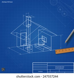 Simple scheme abstract 3d render of building house, vector illustration eps 10