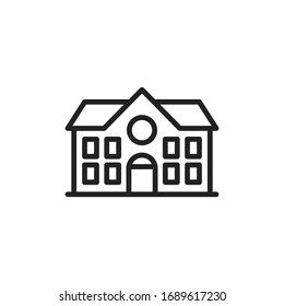 Simple school building line icon. Stroke pictogram. Vector illustration isolated on a white background. Premium quality symbol. Vector sign for mobile app and web sites.