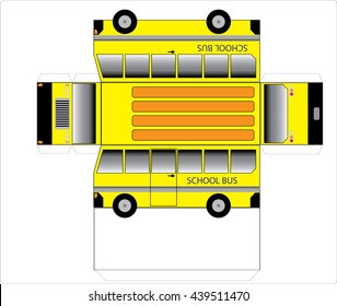 Simple School bus outline, cut out and glue into a 3D model