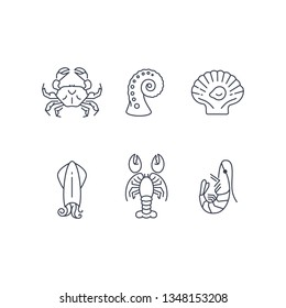 Simple sea animals icon set, vector seafood symbols collection isolated on white, flat design
