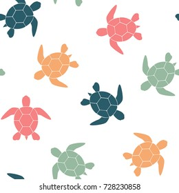 Simple seamless background with a silhouette of a turtle on a white background. Vector illustration.
