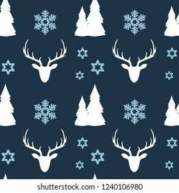 Simple seamless christmas pattern. Deer, forest and snowflakes on a dark blue background.