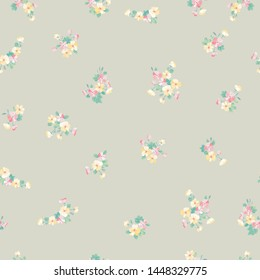 Simple seamless floral pattern with bright colorful small flowers of dog roses. Trendy millefleurs. Elegant template for fashion prints.