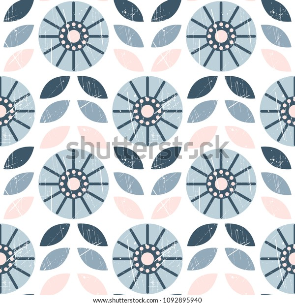 Simple Seamless Pattern Abstract Flowers Scandinavian Stock Vector