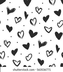 simple seamless pattern with black hearts. Vector pattern for a holiday. Illustration drawn by hand.