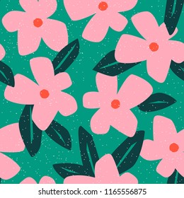 Simple seamless pattern with cute flowers. Abstract floral background. Vector illustration for design, fabric and print. Craft stamp style.