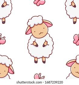 Simple seamless pattern, cute kawaii hand drawn sheep doodles, print