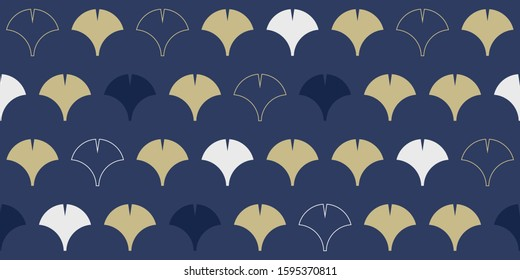 Simple seamless pattern, ginkgo leaves in golden and blue tones