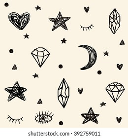Simple seamless pattern with hand drawn elements: stars, moon, hearts, diamonds, eyelashes and eyes . Vector trendy pattern