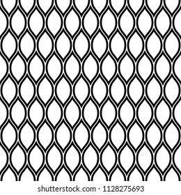 Simple seamless pattern. Ogee ornament. Black and white elegant print for textiles. Vector illustration.