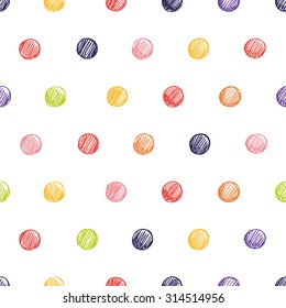 Simple seamless pattern with polka dots. Seamless pattern can be used for wallpapers, pattern fills, web page backgrounds, background textures.