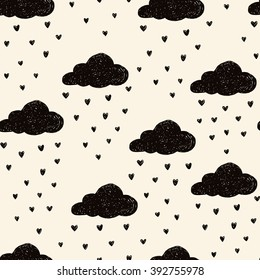 Simple seamless pattern with raining clouds. Vector