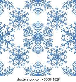 Simple seamless pattern with snowflakes on white background. Holiday design for Christmas and New Year fashion prints. Vector
