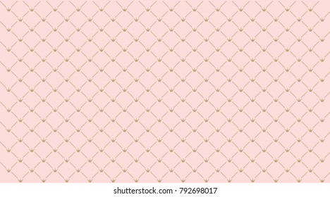 Simple seamless pink vector pattern with gold crowns. Backdrop for invitation card, wrapper and decoration party (wedding, baby girl shower, birthday) Cute wallpaper for princess's style child's room.